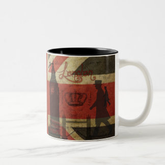 British Flag, Red Bus, Big Ben & Authors Two-Tone Coffee Mug