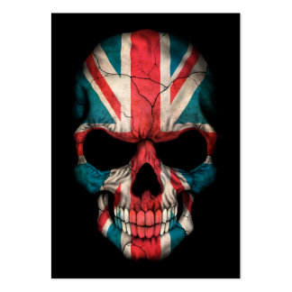 British Flag Skull on Black Business Card Template