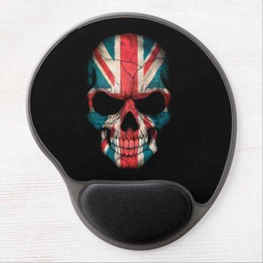 British Flag Skull on Black Gel Mouse Mats