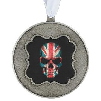 British Flag Skull on Black Scalloped Ornament