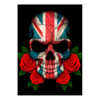 British Flag Skull with Red Roses Business Card