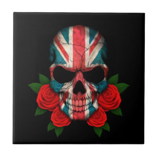 British Flag Skull with Red Roses Small Square Tile