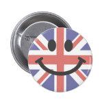 British Flag Smiley face 6 Cm Round Badge