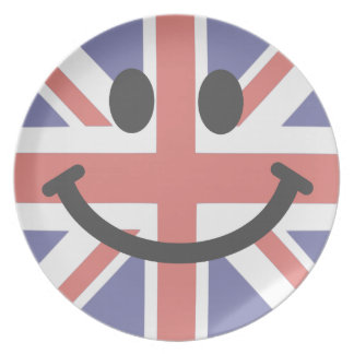British Flag Smiley face Plate