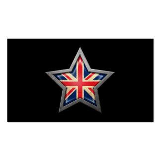 British Flag Star on Black Business Card Templates