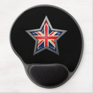 British Flag Star on Black Gel Mouse Pads