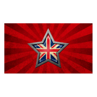 British Flag Star with Rays of Light Business Card Template