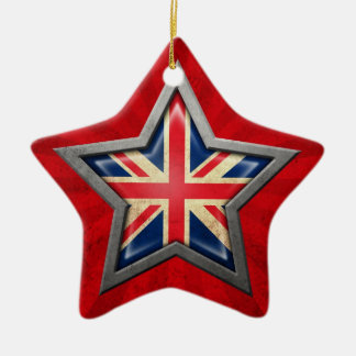 British Flag Star with Rays of Light Christmas Ornament