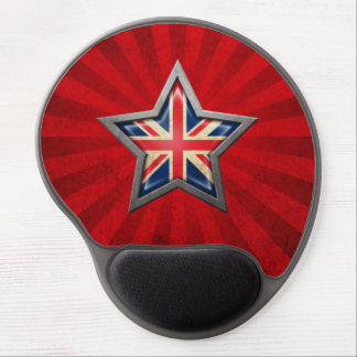 British Flag Star with Rays of Light Gel Mousepad