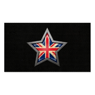British Flag Star with Steel Mesh Effect Business Card