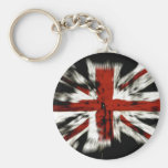 British Flag Stripes Country Honour Colours Peace Basic Round Button Key Ring