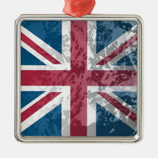 British Flag, (UK, Great Britain or England) Silver-Colored Square Decoration
