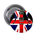 British Flag Union Jack Guitar 6 Cm Round Badge
