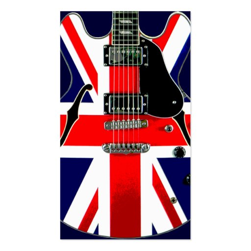 British flag union jack guitar double sided standard for Union made business cards