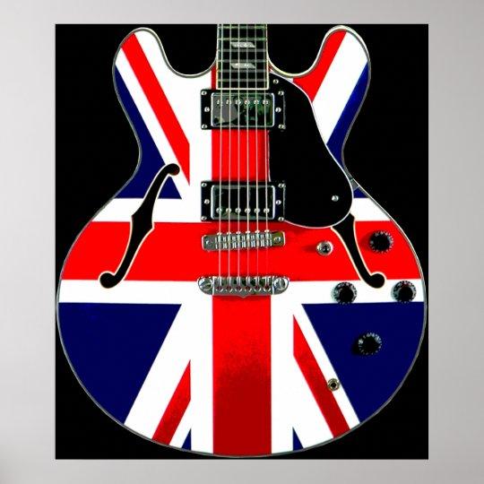 British Flag Union Jack Guitar Poster