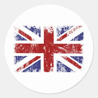 British Flag Union Jack Punk Grunge Round Sticker