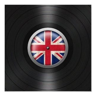 British Flag Vinyl Record Album Graphic 13 Cm X 13 Cm Square Invitation Card