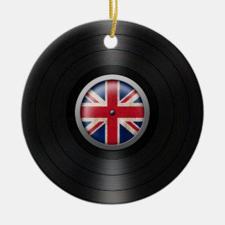 British Flag Vinyl Record Album Graphic Christmas Ornament