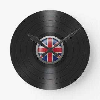 British Flag Vinyl Record Album Graphic Round Clock