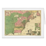 British French America Map 1755 Greeting Card