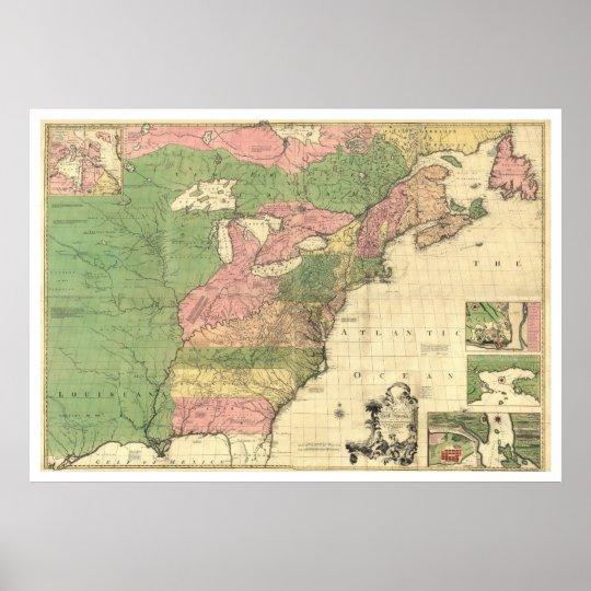 British French America Map 1755 Poster