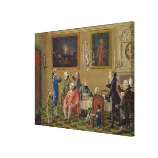 British gentlemen at Sir Horace Mann's home in Flo Canvas Print
