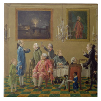 British gentlemen at Sir Horace Mann's home in Flo Large Square Tile