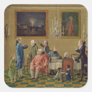 British gentlemen at Sir Horace Mann's home in Flo Square Sticker