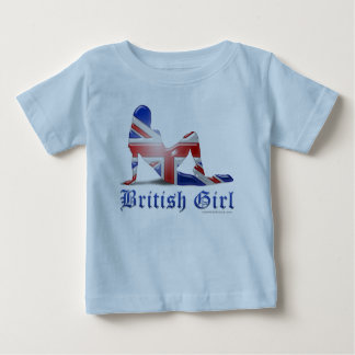 British Girl Silhouette Flag Baby T-Shirt