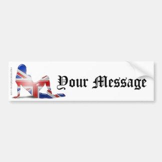 British Girl Silhouette Flag Car Bumper Sticker