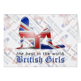 British Girl Silhouette Flag Greeting Card