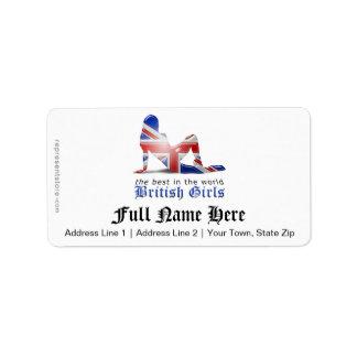British Girl Silhouette Flag Address Label