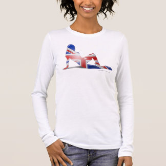 British Girl Silhouette Flag Long Sleeve T-Shirt