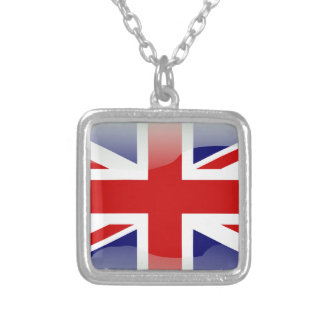 British glossy flag silver plated necklace