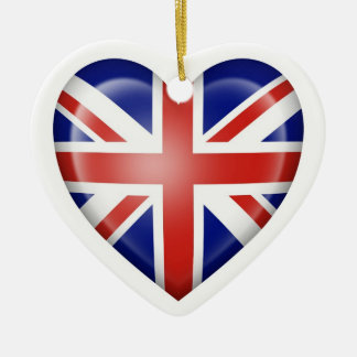 British Heart Flag on White Christmas Ornament