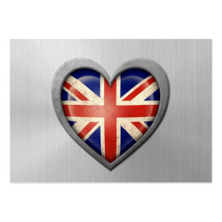 British Heart Flag Stainless Steel Effect Business Cards