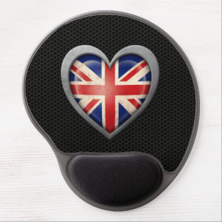 British Heart Flag Steel Mesh Effect Gel Mousepad