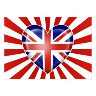 British Heart Flag with Star Burst Business Card Template