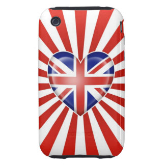 British Heart Flag with Star Burst Tough iPhone 3 Cover