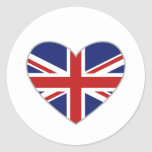 British Heart Round Stickers