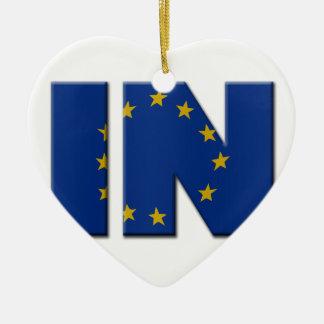 British In/Out EU referendum. IN with European Uni Ceramic Heart Decoration