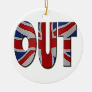British In/Out EU referendum. OUT with Union Jack Round Ceramic Decoration