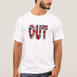 British In/Out EU referendum. OUT with Union Jack T-Shirt