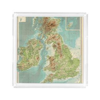British Isles bathyorographical map Acrylic Tray