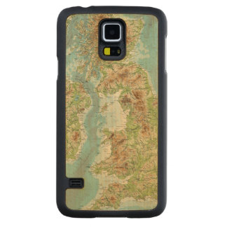 British Isles bathyorographical map Carved Maple Galaxy S5 Case