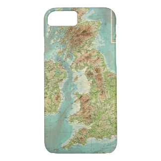 British Isles bathyorographical map iPhone 8/7 Case