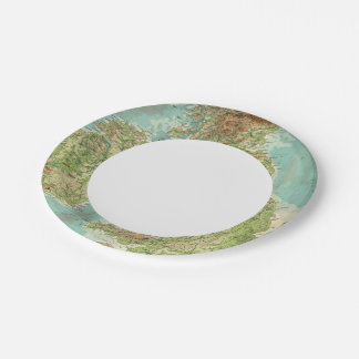 British Isles bathyorographical map Paper Plate