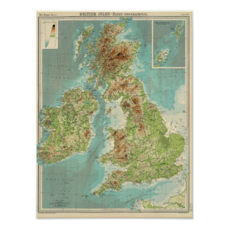 British Isles bathyorographical map Poster