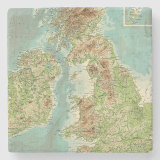 British Isles bathyorographical map Stone Coaster