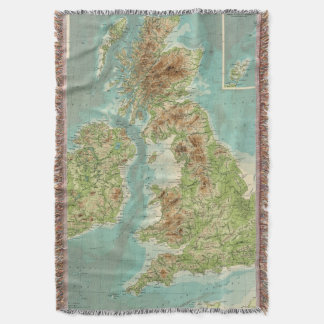 British Isles bathyorographical map Throw Blanket
